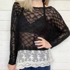 Umgee Oversized Sheer Knit Tunic Lace Trim